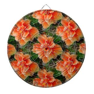 Flor tropical del hibisco del albaricoque tablero dardos