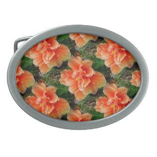 Flor tropical del hibisco del albaricoque hebilla cinturón oval