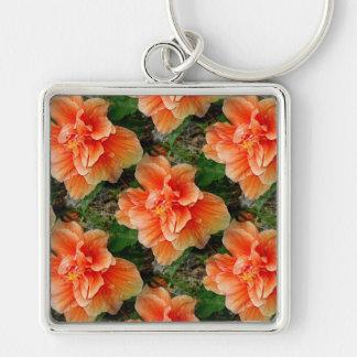 Flor tropical del hibisco del albaricoque llavero cuadrado plateado
