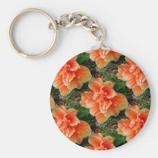 Flor tropical del hibisco del albaricoque llavero redondo tipo pin