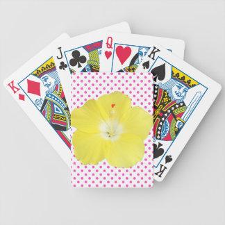 Flor tropical del hibisco en lunares cartas de juego