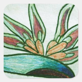 Flor tropical estilizada pegatina cuadrada