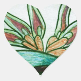Flor tropical estilizada pegatina en forma de corazón