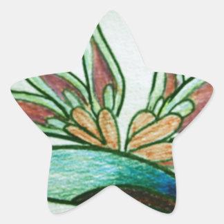 Flor tropical estilizada pegatina en forma de estrella