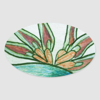Flor tropical estilizada pegatina ovalada