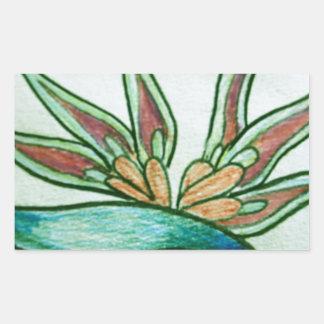 Flor tropical estilizada pegatina rectangular