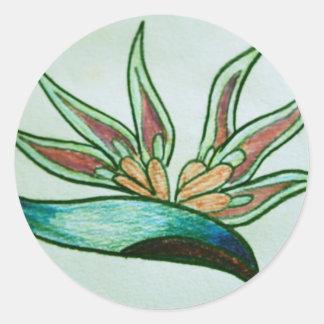 Flor tropical estilizada pegatina redonda