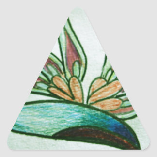 Flor tropical estilizada pegatina triangular