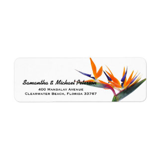 Flor tropical hermosa de la ave del paraíso etiqueta de remite