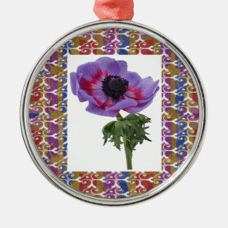 Flor única y regalos elegantes del modelo de la adorno redondo plateado