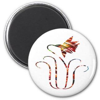 Flor V5 - Diseño rojo ornamental de la chispa Imanes