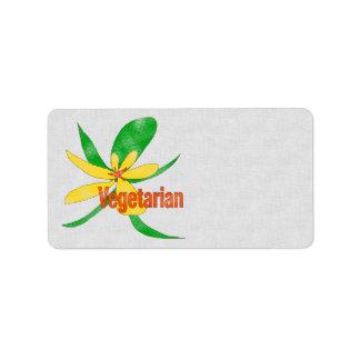 Flor vegetariana etiquetas de dirección