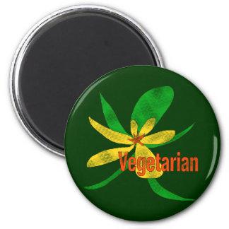 Flor vegetariana imán redondo 5 cm