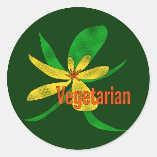 Flor vegetariana pegatina redonda