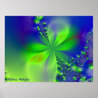 flor verde abstracta, Halima Ahkdar Póster