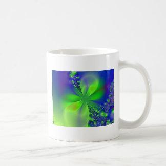 flor verde abstracta tazas de café