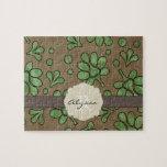 Flor verde con monograma puzzles con fotos