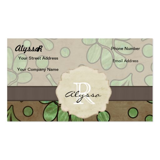 Flor verde con monograma tarjetas de visita