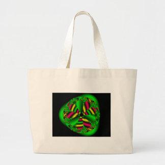 Flor verde de neón bolsa tela grande
