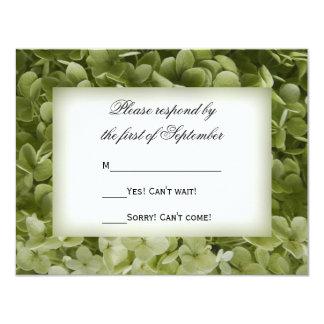 """Flor verde del Hydrangea de Annabelle que casa la Invitación 4.25"""" X 5.5"""""""