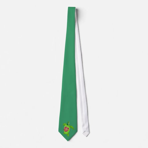 Flor verde del tortuga-bonito corbata personalizada