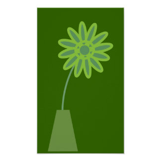 Flor verde enrrollada del dibujo animado en poster