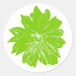 Flor verde grande pegatina redonda