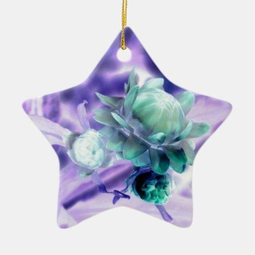 flor verde inusual, productos adorno de cerámica en forma de estrella