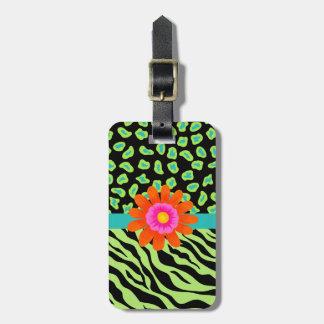 Flor verde, negra y del trullo de la cebra y del etiquetas de maletas