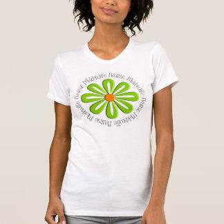 Flor verde retra de las camisetas de la partera de