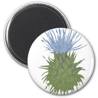 Flor verde y azul de la vaina imán redondo 5 cm