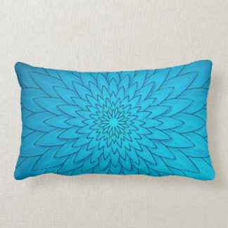 Flor vibrante de las azules turquesas cojin