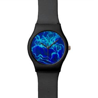 Flor vibrante del clavel del azul y del trullo relojes de pulsera