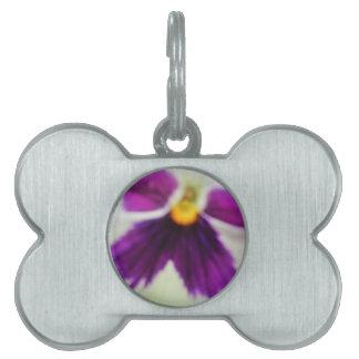 Flor violeta, blanco púrpura placas mascota