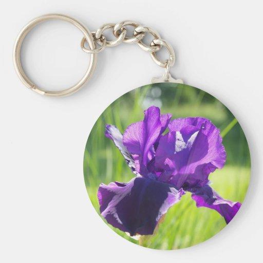 Flor violeta del iris llavero personalizado