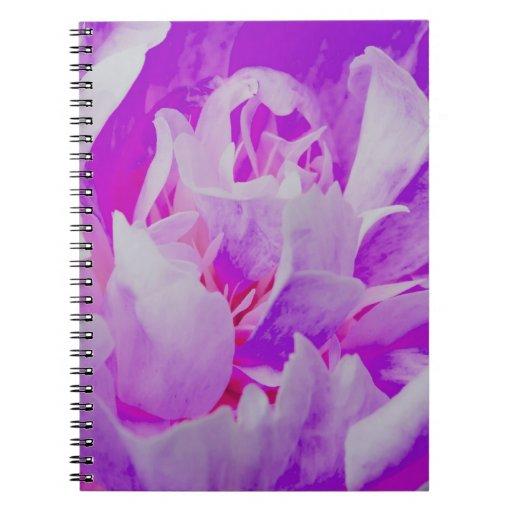 Flor violeta libro de apuntes con espiral