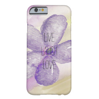 Flor viva de la acuarela púrpura del oro funda de iPhone 6 barely there
