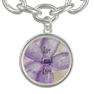 Flor viva de la acuarela púrpura del oro pulsera con dije