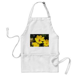 Flor y abeja amarillas del cosmos delantal