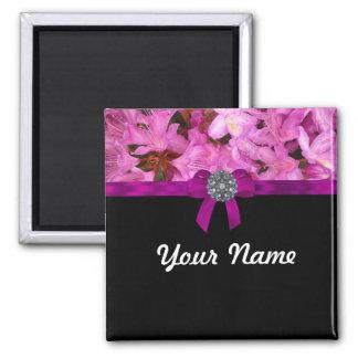 Flor y arco rosados elegantes imán cuadrado
