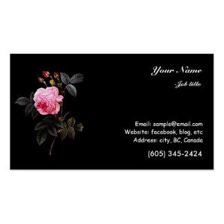 flor y brotes color de rosa rosados tarjeta de visita