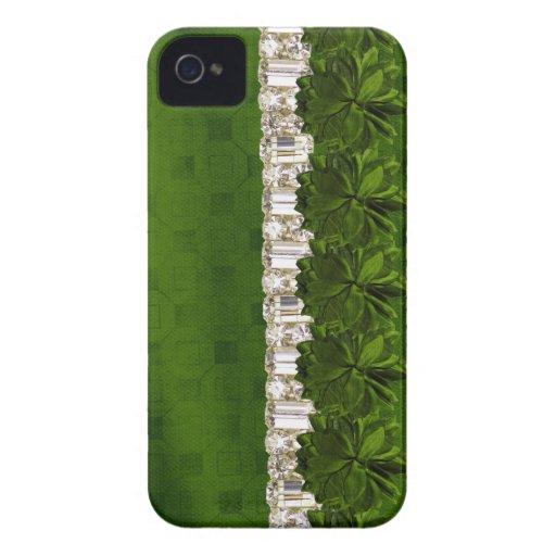 flor y caja verdes de IPhone del diamante artifici Case-Mate iPhone 4 Cobertura