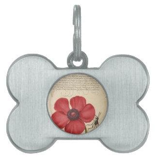 Flor y caracol rojos placa mascota