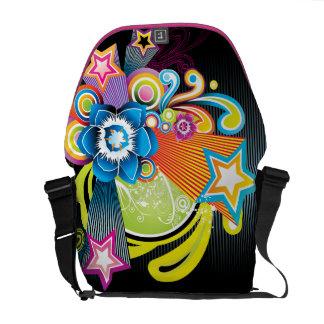 Flor y estrellas abstractas coloridas hermosas 3D Bolsa De Mensajería