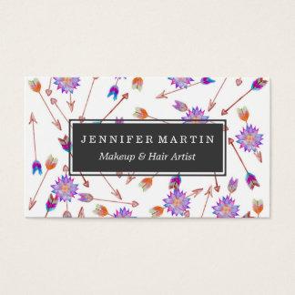 Flor y flechas pintadas a mano de la acuarela de tarjetas de visita