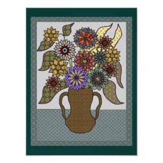 Flor y florero enmarcados remiendo fotografías
