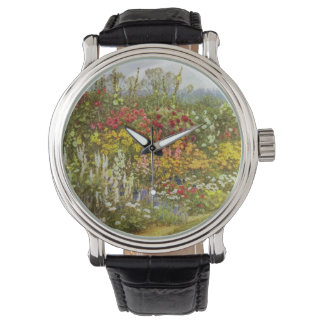 Flor y frontera herbácea relojes de mano