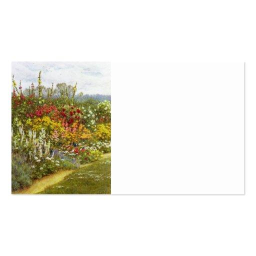 Flor y frontera herbácea plantilla de tarjeta de visita