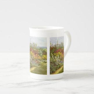 Flor y frontera herbácea taza de china