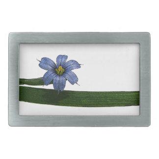 Flor y hoja de la hierba de ojos azules hebilla cinturón rectangular